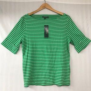 LAUREN Striped 3/4 sleeve Striped Top